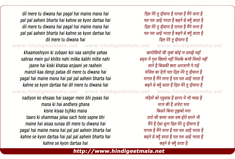 lyrics of song Dil Mere Tu Diwana Hai Paagal Hai Maine Mana Hai