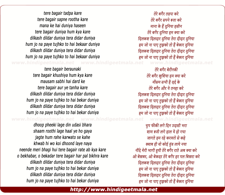 lyrics of song Hum Jo Na Paaye Tujhko Toh Hai Bekaar Duniya
