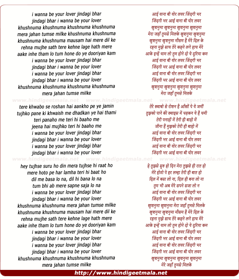 lyrics of song I Wanna Be Your Lover