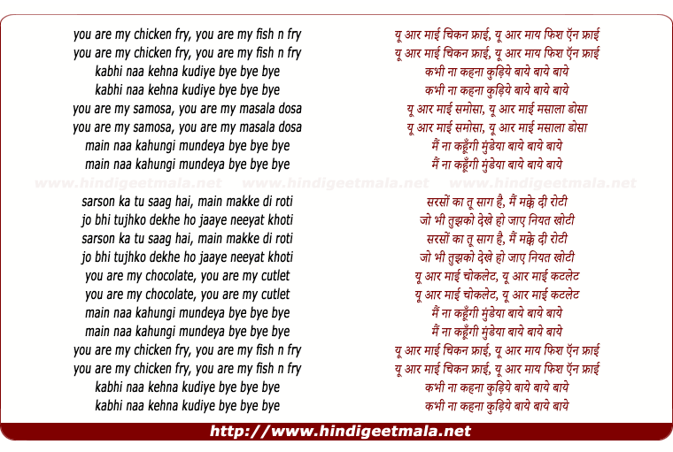 lyrics of song You Are My Chicken Fry