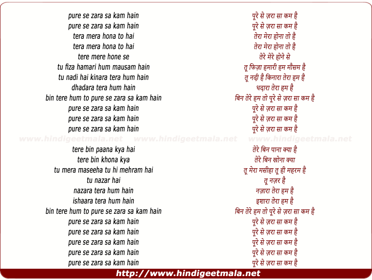 lyrics of song Poore Se Zara Sa Kam Hain