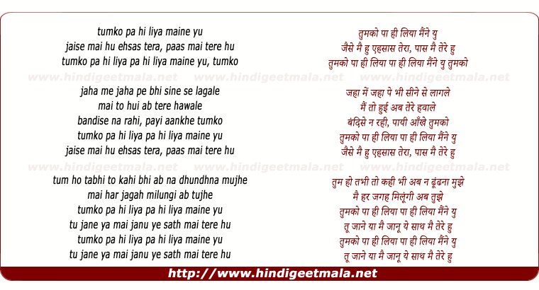 lyrics of song Tum Ko Paa Hi Liya