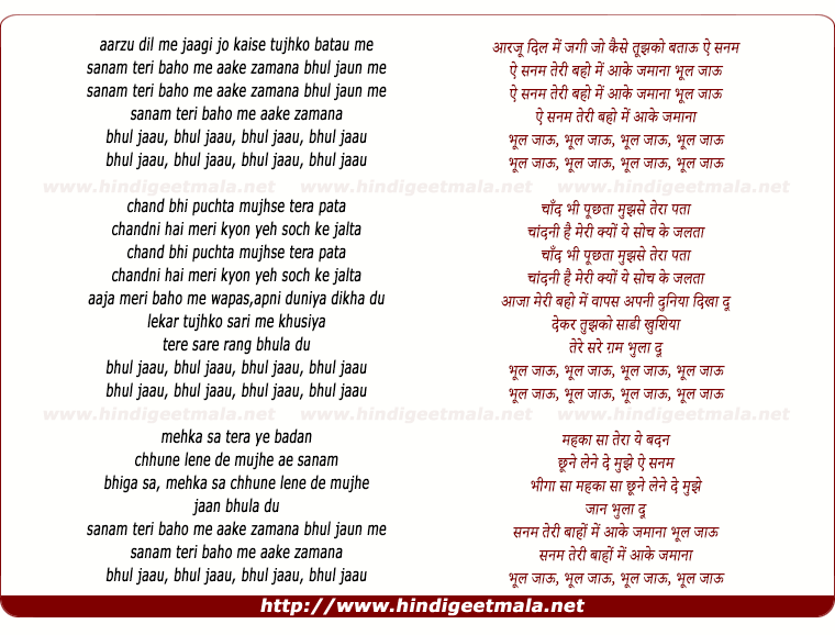 lyrics of song Bhool Jaaun