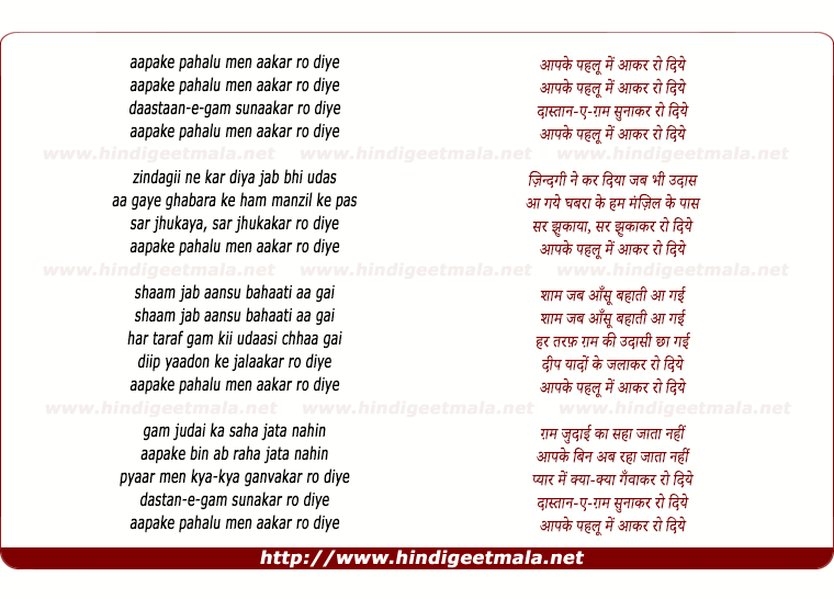 lyrics of song Aap Ke Pahloo Mein Aakar Ro Diye
