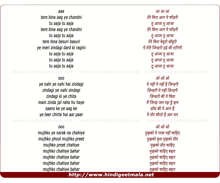 lyrics of song Tere Bina Aag Ye Chandni