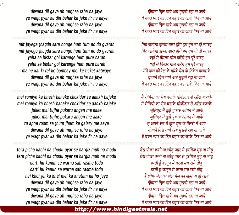 lyrics of song Diwana Dil Gaye, Ab Mujhse Raha Na Jaye