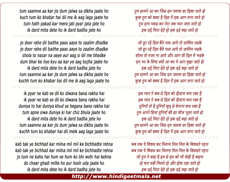 lyrics of song Tum Samne Aakar Jis Dam Jalwa Sa Dikha Jate Ho