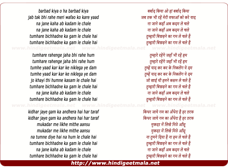 lyrics of song Na Jane Kahan Ab Kadam Le Chale