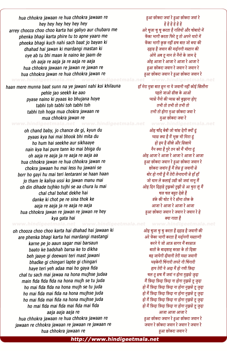 lyrics of song Hua Chokra Jawaan Re