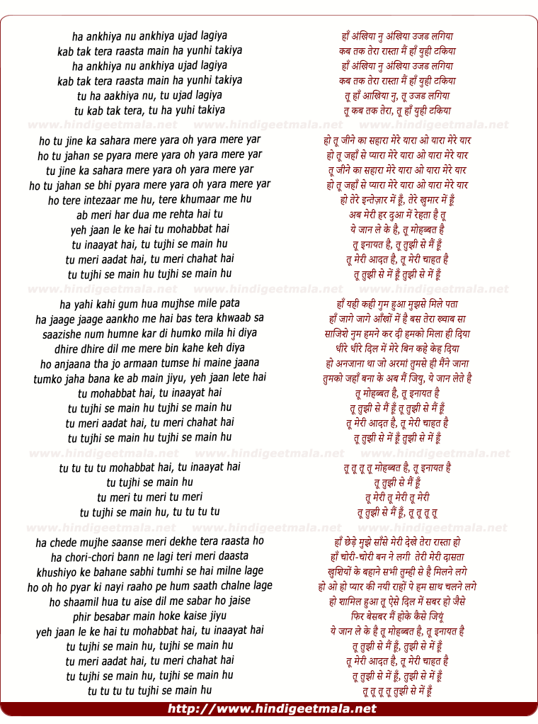 lyrics of song Tu Mohabbat Hai (Remix)
