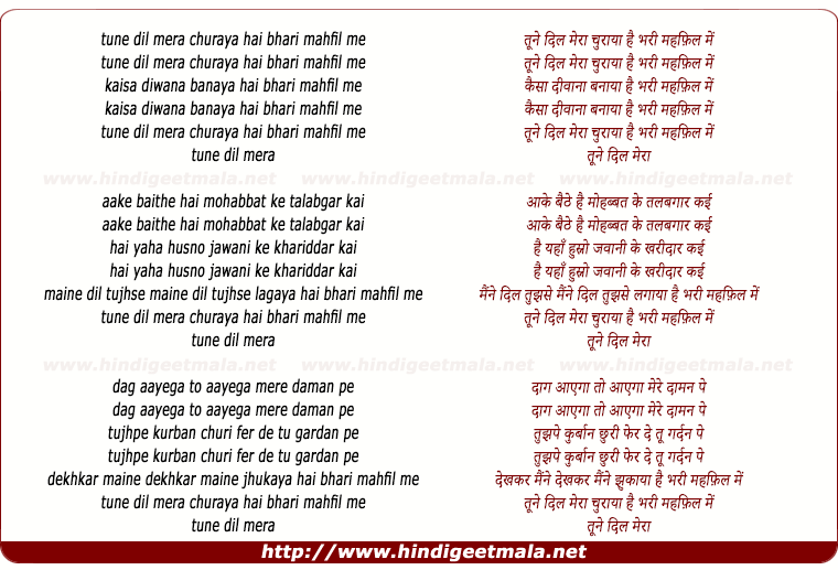 lyrics of song Tune Dil Meraa Churaya Hai Bhari Mehfil Me