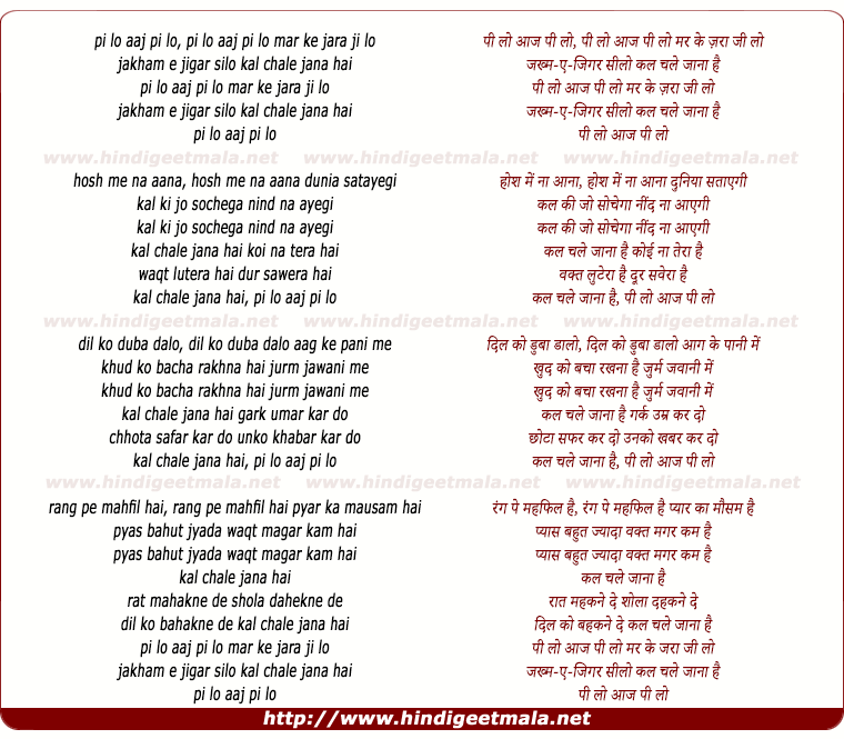 lyrics of song Pee Lo Aaj Pee Lo Mar Ke Zara Jee Lo