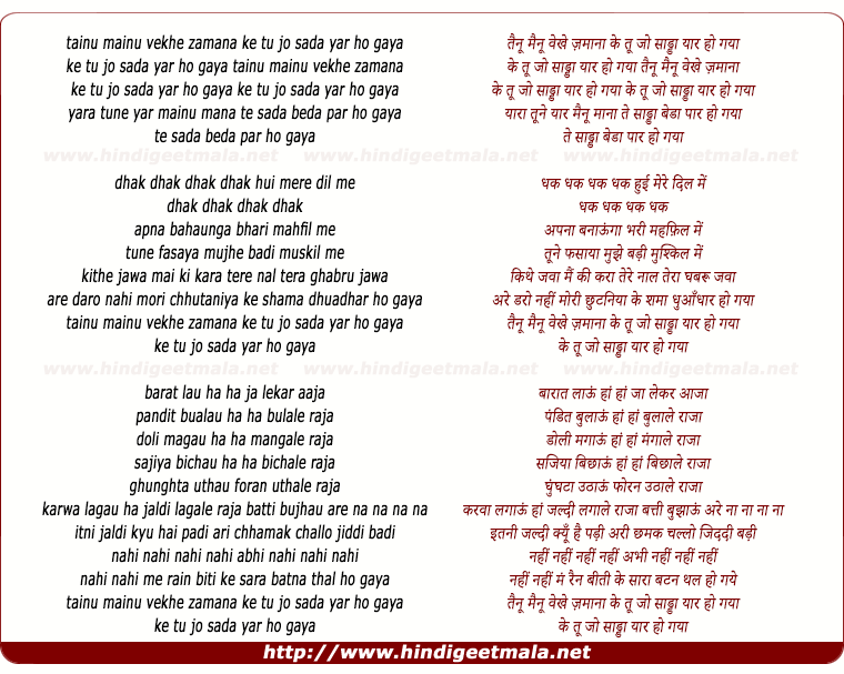 lyrics of song Tainu Mainu Vekhe Zamana, Tu Jo Sada Yaar Ho Gaya
