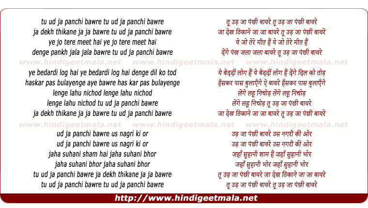 lyrics of song Tu Udd Jaa Panchhi Baware