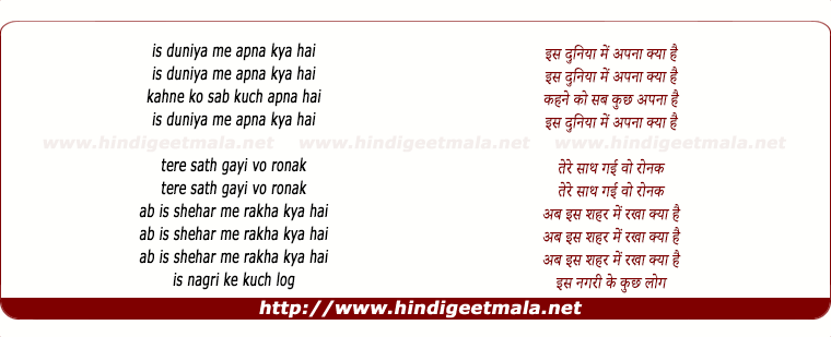 lyrics of song Is Dunia Me Apna Kya Hai