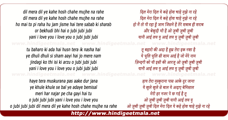 lyrics of song Dil Mera Dil Ye Kahe Hosh Chahe Mujhe Na Rahe