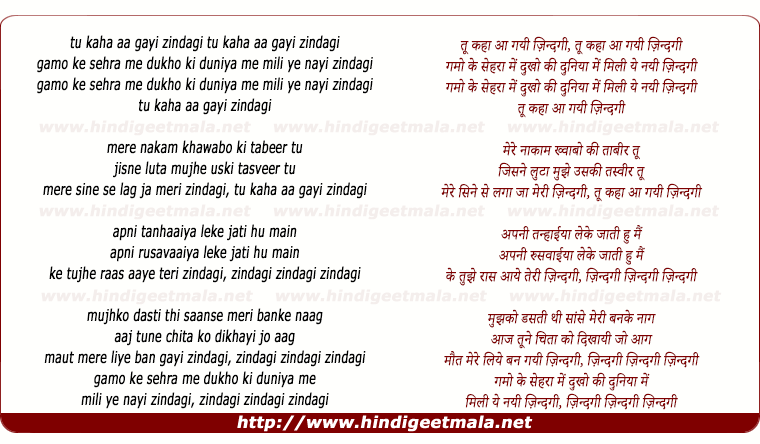 lyrics of song Tu Kahan Aa Gayi Zindagi (Bappi Lahiri)