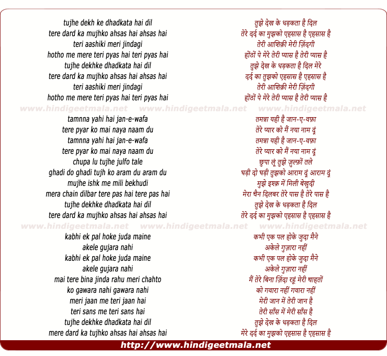 lyrics of song Teri Aashiqui Meri Zindagi
