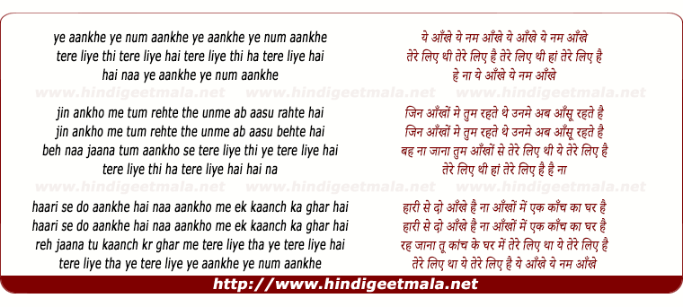lyrics of song Ye Ankhe, Ye Num Ankhe