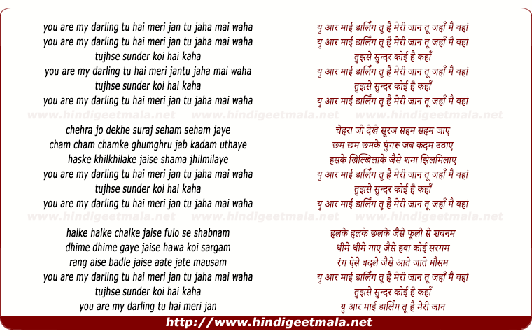 lyrics of song You Are My Darling Tu Hai Meri Jaan