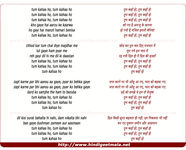 lyrics of song Tum Kahan Ho Tum Kahan Kho Gaye Hai Aarzu