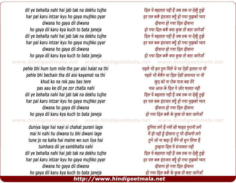 lyrics of song Dil Ye Behalta Nahin Hai, Jab Tak Na Dekhu Tujhe