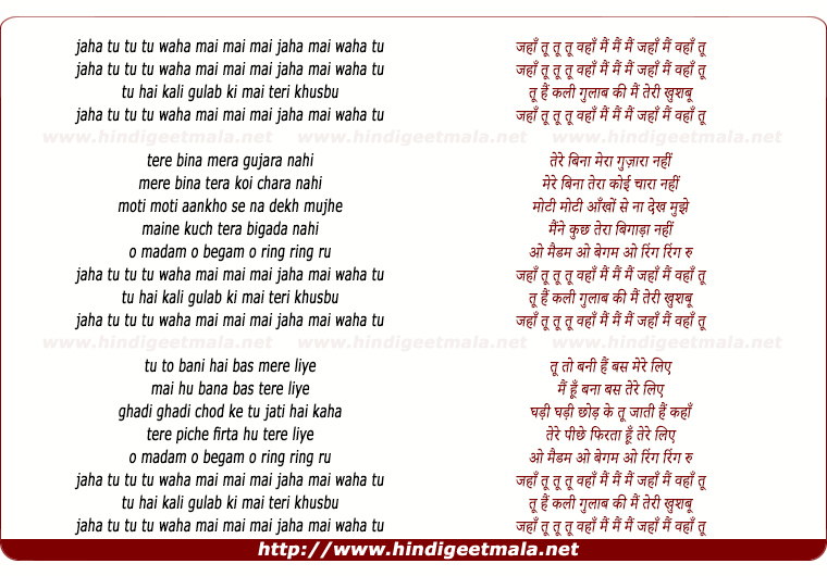lyrics of song Jahan Tu Wahan Main Main