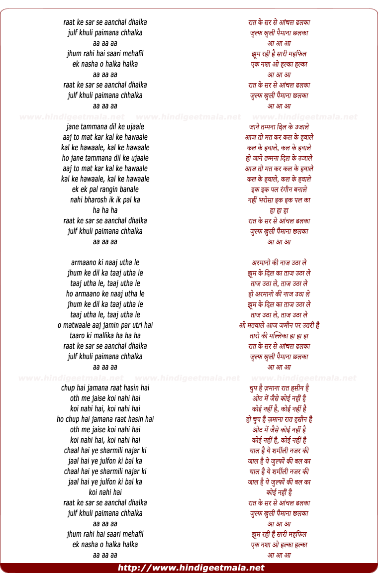 lyrics of song Raat Ke Sar Se Aanchal Dhalka