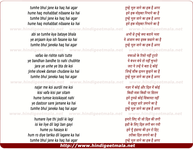 lyrics of song Tumhe Bhool Jaane Ka Haq Hai Agar