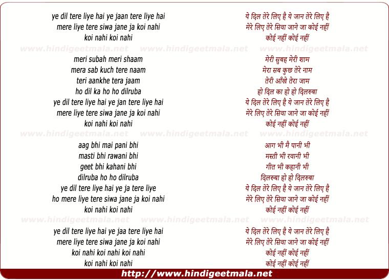 lyrics of song Ye Dil Tere Liye Hai Ye Jaan Tere Liye Hai