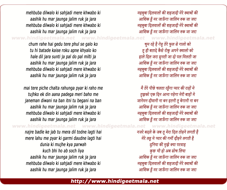 lyrics of song Mehbooba Dilwalon Ki Sahjadi Mere Khawabo Ki