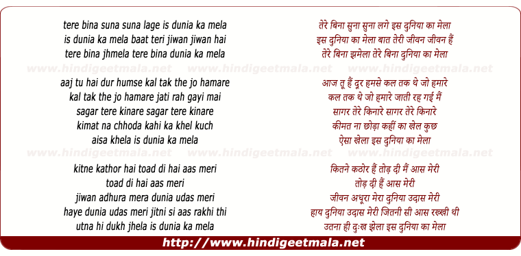 lyrics of song Tere Bina Suna Suna Laage Is Duniya Ka Mela