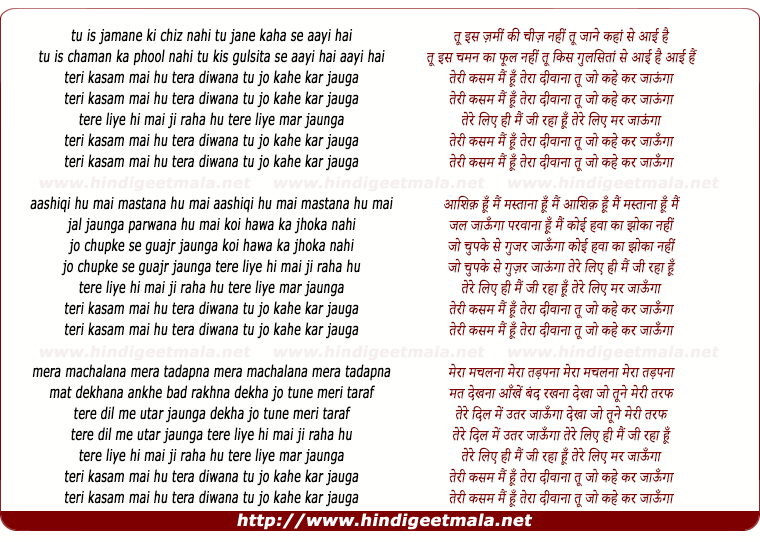 lyrics of song Teri Kasam Mai Hu Tera Deewana