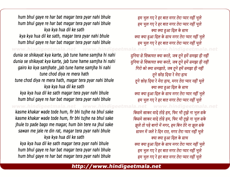 lyrics of song Hum Bhul Gaye Re Har Bat Magar Tera Pyar Nahi Bhule