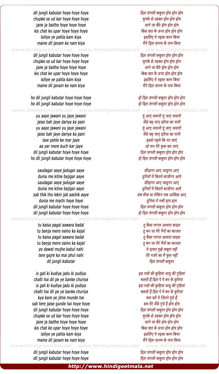 lyrics of song Dil Jungli Kabootar