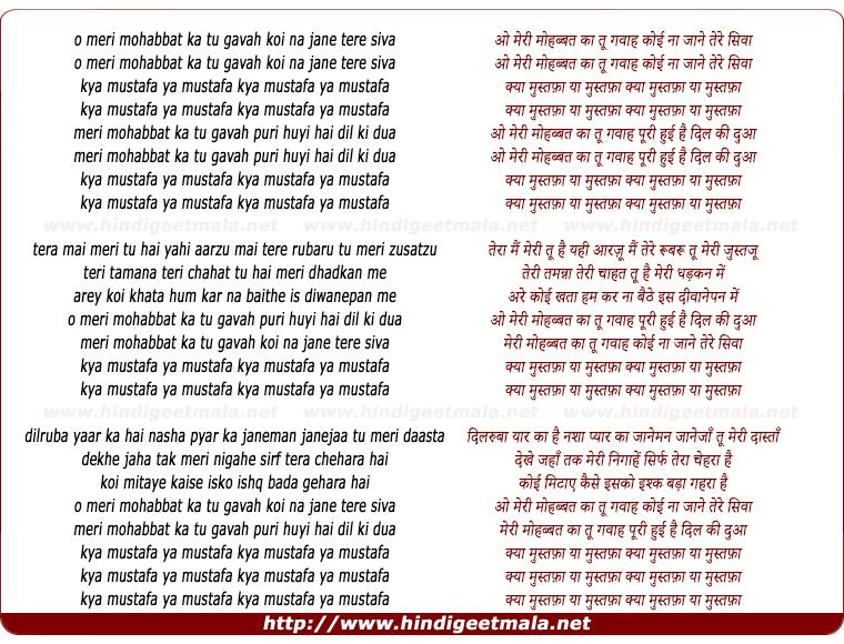 lyrics of song Meri Mahobbat Ka Tu Ganva, Koi Na Jane Tere Siva, Ya Mustafa