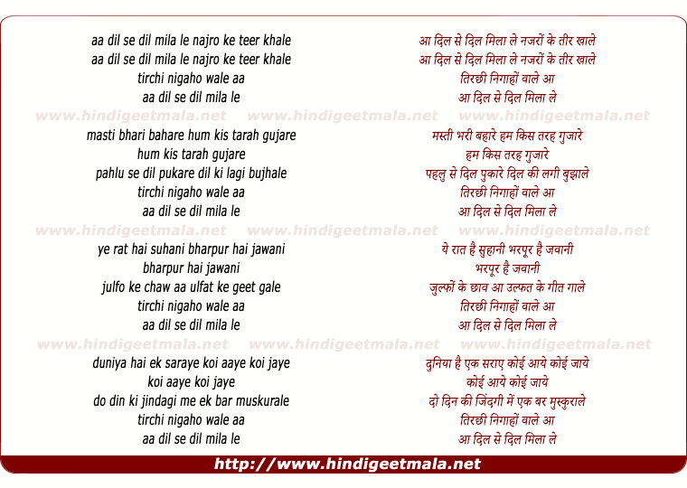 lyrics of song Aa Dil Se Dil Mila Le Nazron Ke Teer Khale