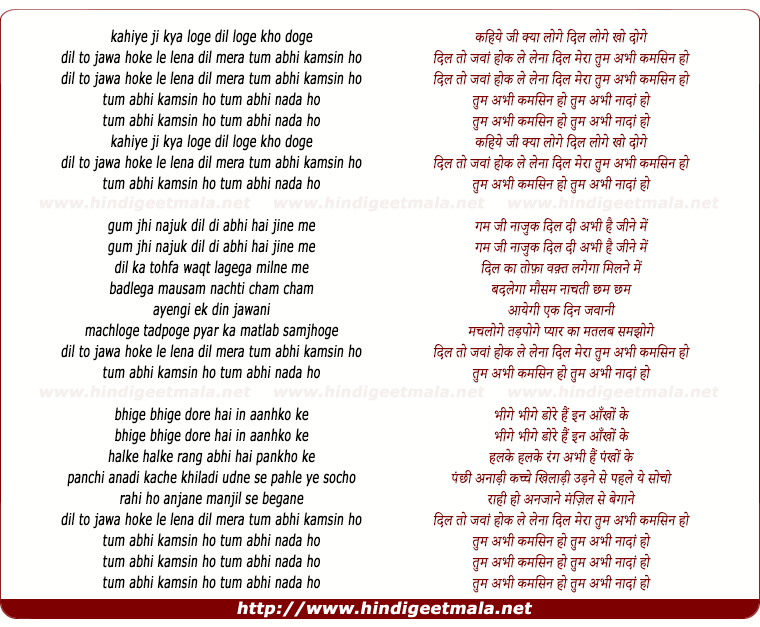 lyrics of song Kahiye Ji Kya Loge Dil Loge Dil Kho Doge