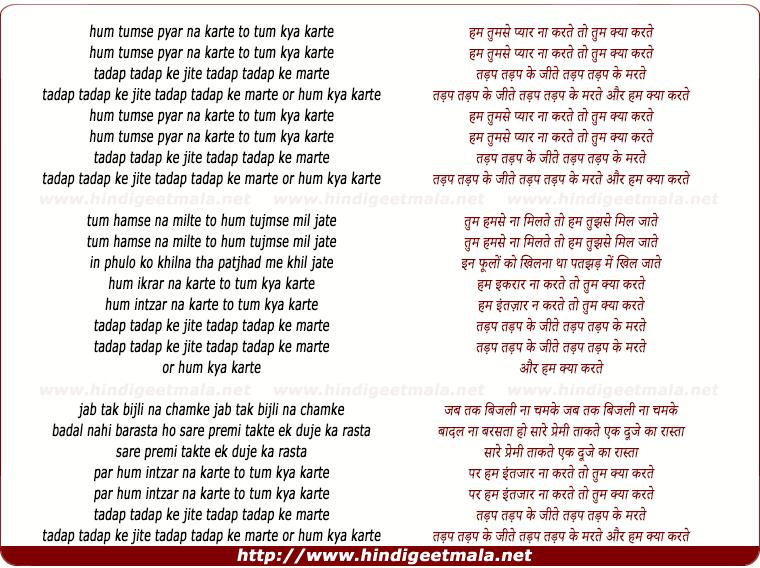 lyrics of song Hum Tumse Pyar Na Karte To Tum Kya Karte