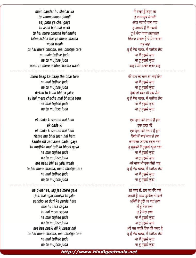 lyrics of song Mein Bandar Hun Shahar Ka Tu Vanmanus Jungli