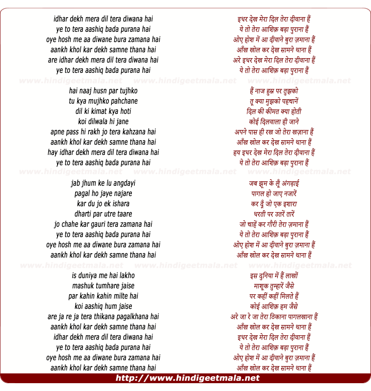 lyrics of song Idhar Dekh Mera Dil Tera Diwana Hai
