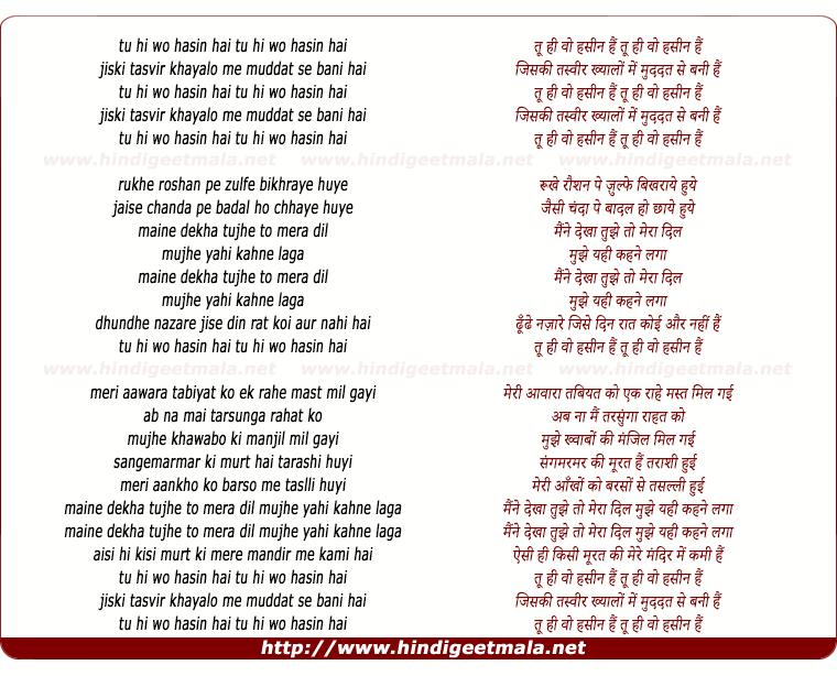 lyrics of song Tu Hi Woh Hasin Hai, Jiski Tasvir Khayalo Me