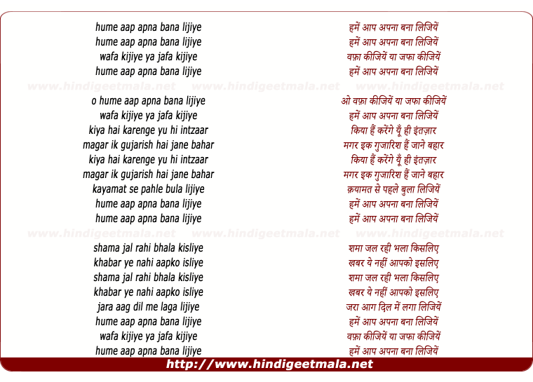 lyrics of song Hume Aap Apna Bana Lijiye