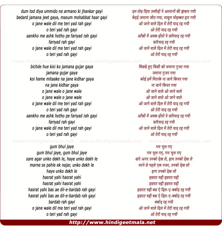 lyrics of song O Jaane Wale Dil Mein Teri Yaad Rah Gayi