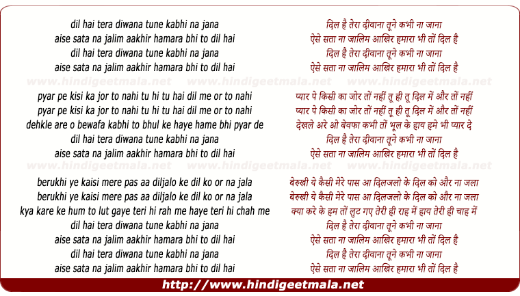 lyrics of song Dil Hai Tera Deewana Tune Kabhi Na Jaana