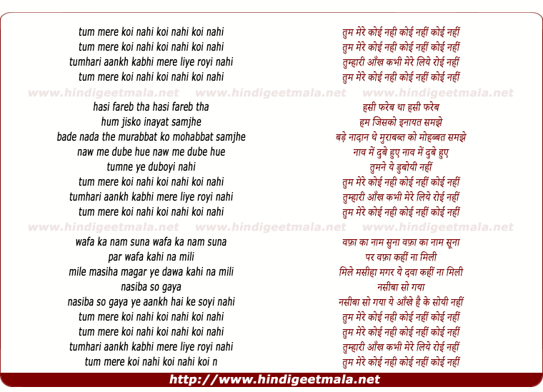 lyrics of song Tum Mere Koi Nahi