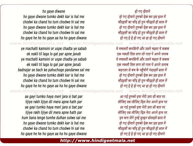 lyrics of song Ho Gaye Deewane Tumko Dekh Kar Is Haal
