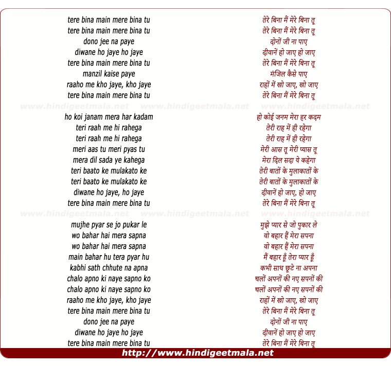 lyrics of song Tere Bina Mai