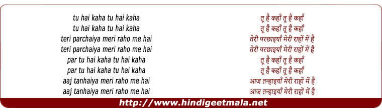 lyrics of song Tu Hai Kahaan Teri Parchhaiya