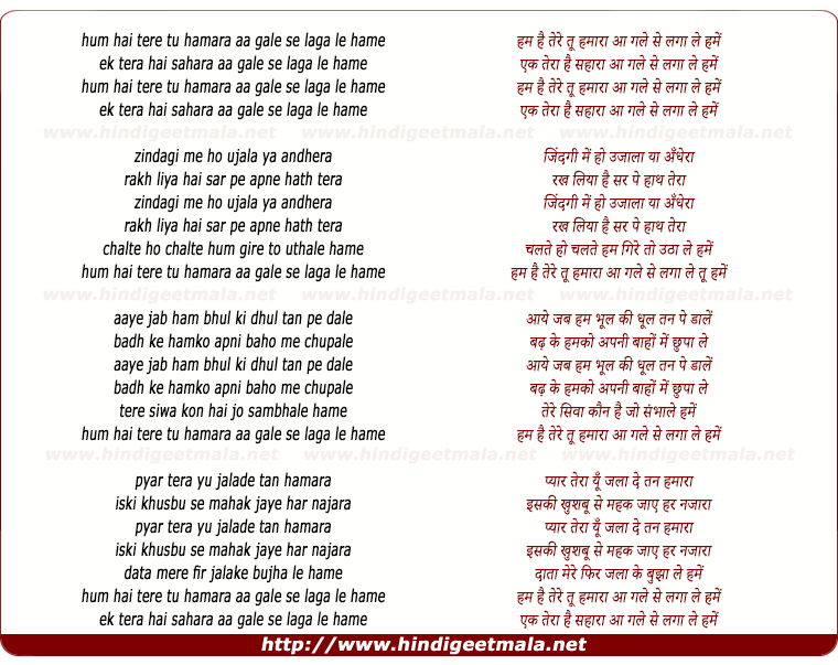 lyrics of song Hum Hai Tere Tu Hamara Aa Gale Se Laga Le Hame